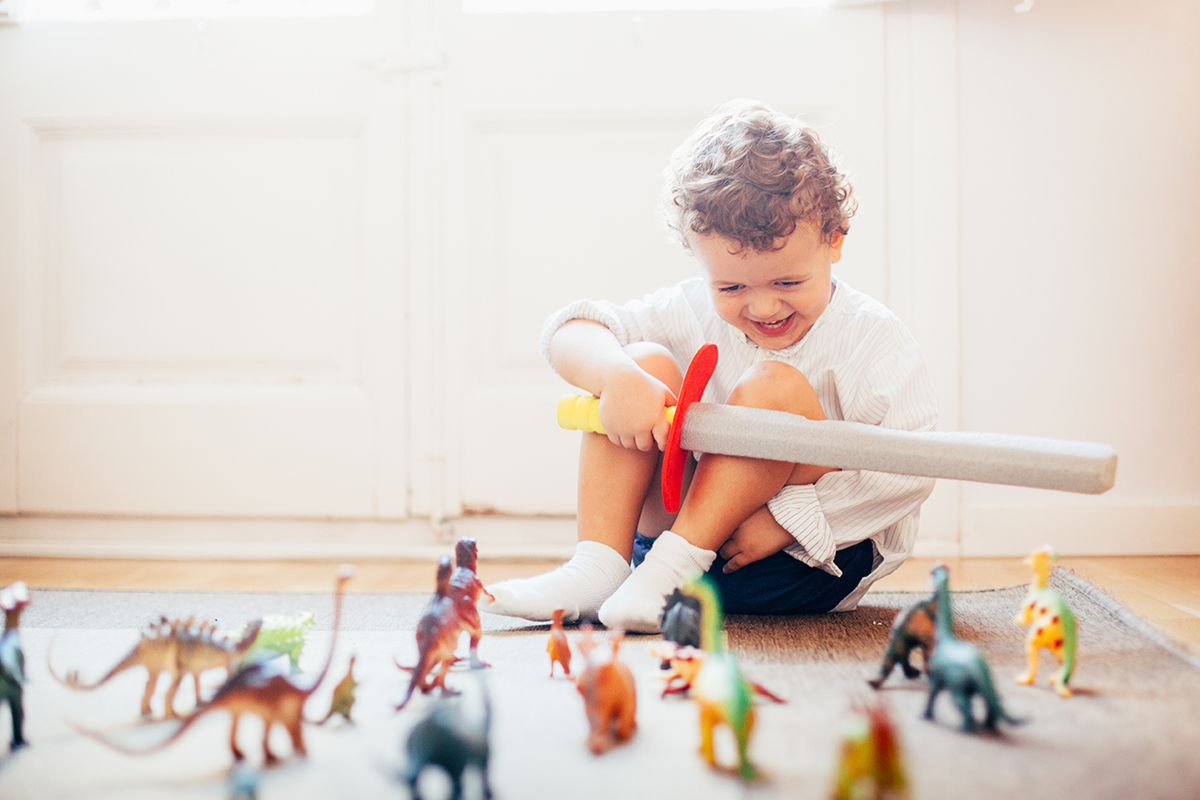 Boy playing with toy dinosaurs