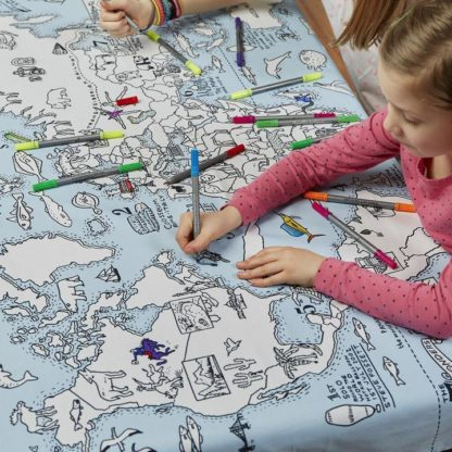 World Map Coloring Table Cloth