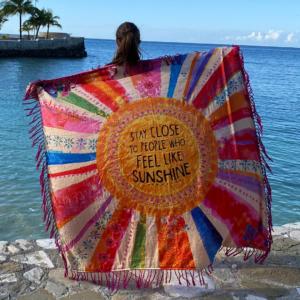 Square Shabana Beach Towel: Stay Close to People Who Feel Like Sunshine